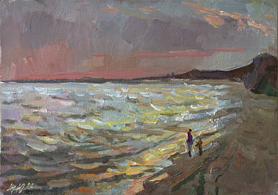 Painting - Walking By The Sea by Juliya Zhukova