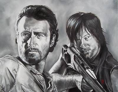 Rick Grimes Painting - Walking Dead  Rick And Daryl by D A Nuhfer
