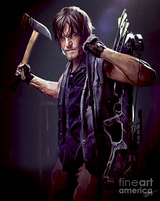 Pinups Painting - Walking Dead - Daryl Dixon by Paul Tagliamonte