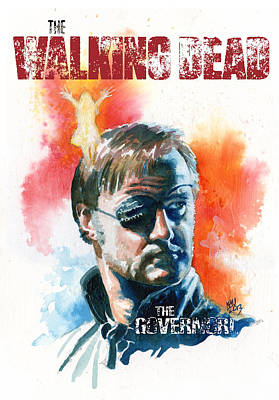 Television Painting - Walking Dead Governor by Ken Meyer jr