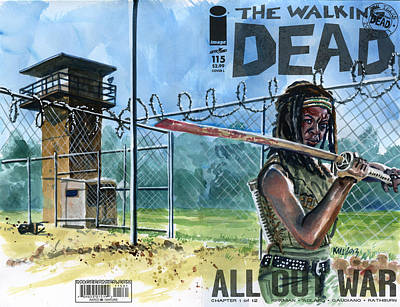 Television Painting - Walking Dead Michonne 2 by Ken Meyer