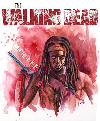 Television Painting - Walking Dead Michonne by Ken Meyer jr