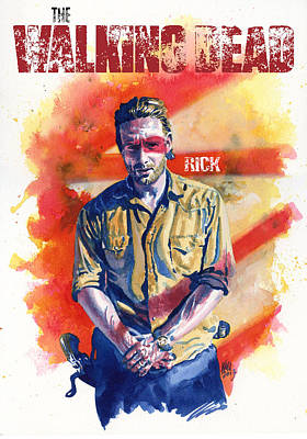 Horror Painting - Walking Dead Rick by Ken Meyer jr