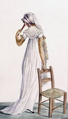 Shawl Drawing - Walking Dress, Illustration by Pierre de La Mesangere