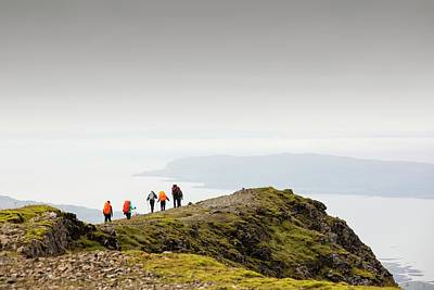 Walking Group On Ben More Print by Ashley Cooper