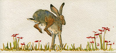 Walking Hare Art Print by Juan  Bosco