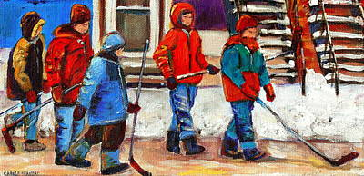 Painting - Walking Home After The Hockey Game Art Of Montreal Verdun  Winter City Scenes By Carole Spandau by Carole Spandau