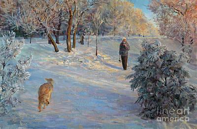 Walking In A Winter Park Art Print
