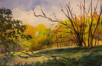Park Scene Painting - Walking In Montgomery Bell Park. by Janet Felts