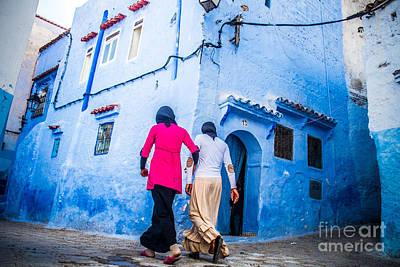 Sabino Photograph - Walking In The Blue Medina by Sabino Parente