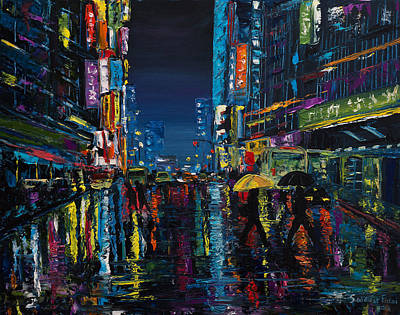 Painting - Walking In The City Taipei  by Salavat Fidai