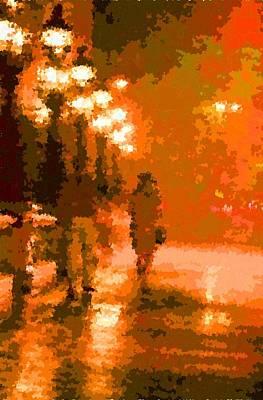 Painting - Walking In The Rain 02 by Samuel Majcen