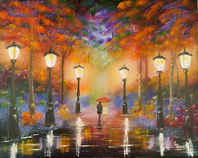 Painting - Walking In The Rain by Chris Fraser