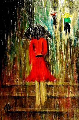 Art Print featuring the painting Walking In The Rain.. by Cristina Mihailescu