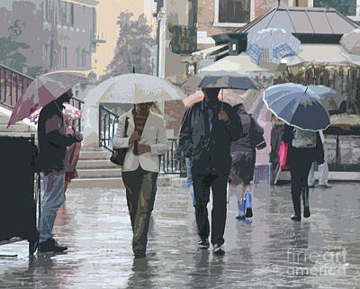Photograph - Walking In The Rain In Venice by Mariarosa Rockefeller