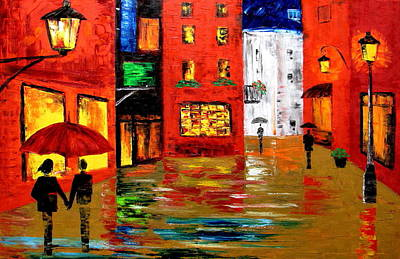 Store Fronts Painting - Walking In The Rain by Mariana Stauffer