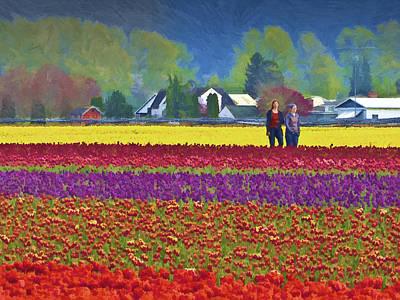 Skagit Digital Art - Walking In The Tulip Field by John Parks