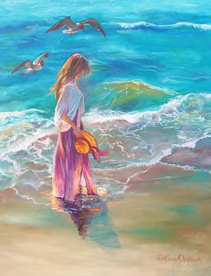 Walking In The Waves Art Print