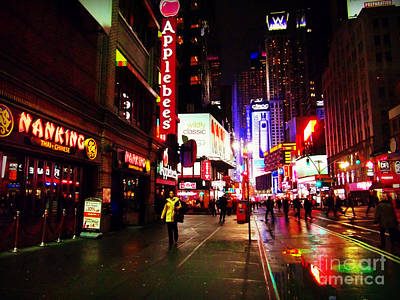 Photograph - Walking In Times Square by Miriam Danar