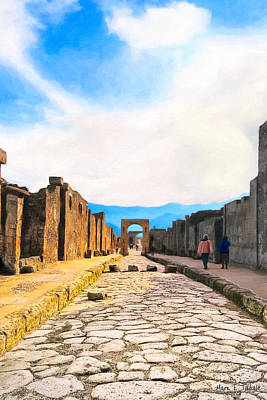 Photograph - Walking Into The Past - Streets Of Pompeii by Mark E Tisdale