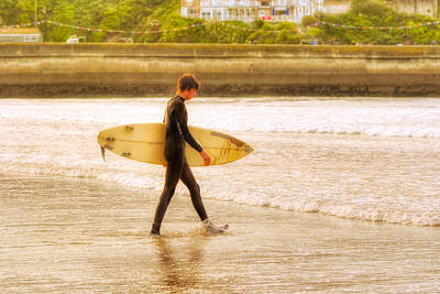 Surfers Photograph - Walking Into The Sea - Surfer At Newquay by Mark E Tisdale
