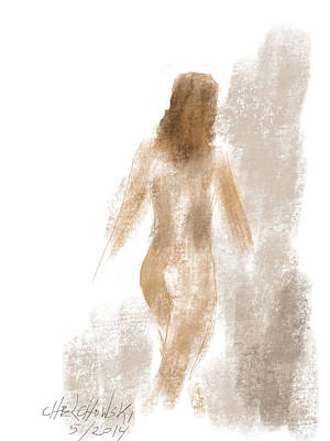 Drawing - Walking Nude by Miroslaw  Chelchowski