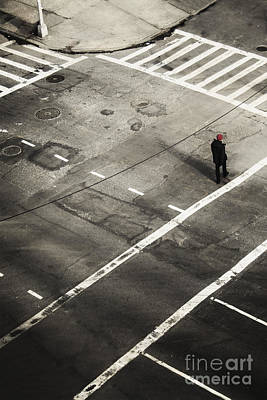 Crosswalk Photograph - Walking On A City Street Alone by Margie Hurwich