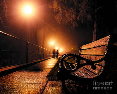 Photograph - Walking On A Misty Evening by Michael Arend