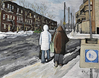 Montreal Streets Painting - Walking On The Avenues by Reb Frost