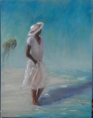 Painting - Walking On The Beach by Sarah Barnaby