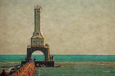 Lighthouse Digital Art - Walking On The Breakwater by Mary Machare
