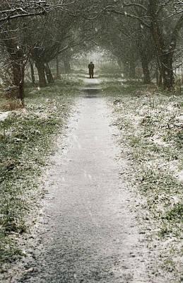 Walking On The Winter Path Art Print by Svetlana Sewell