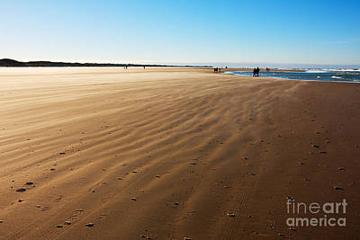 Walking On Windy Beach. Art Print