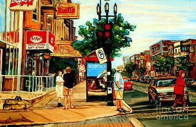 Depanneur Painting - Walking Past Rialto And The Kit Kat Gift Shop Towards Pascals On Blvd. Park Avenue Montreal Scenes by Carole Spandau