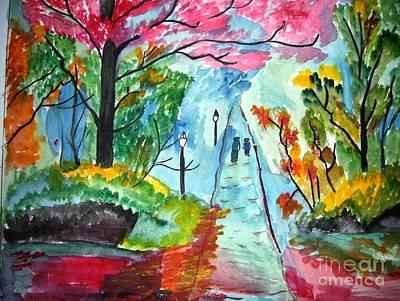 Handmade Painting - Walking Path by Purnima Jain