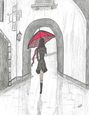 Rain Drawing - Walking The Back Streets by Ray Ratzlaff