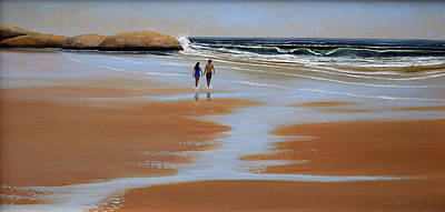 Painting - Walking The Beach by Frank Wilson