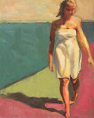 Wall Art - Painting - Walking The Beach by Leslie Rock