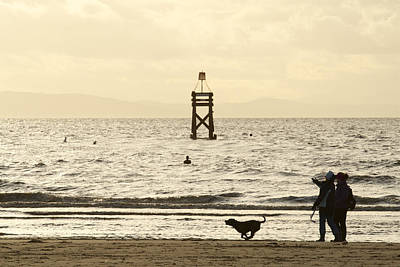 Photograph - Walking The Dog Along Crosby Beach by Phillip Orr
