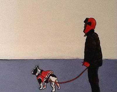 French Bull Dog Wall Art - Painting - Walking The Dog. by Judith Schultze