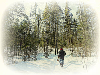 Walking The Dog On A Snowy Trail Art Print by Dianne  Lacourciere