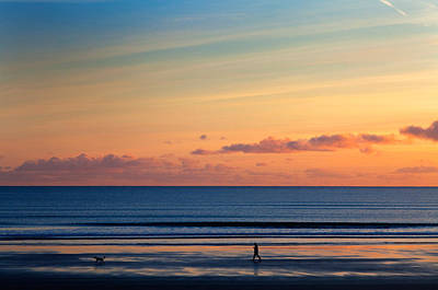 Walking The Dog, Tramore, County Art Print by Panoramic Images