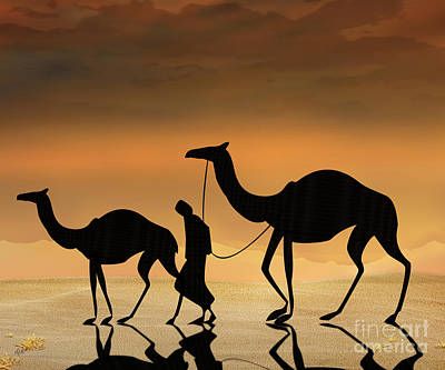 Camel Digital Art - Walking The Sahara by Peter Awax