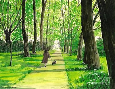 Scottish Terrier Watercolor Painting - Walking The Scottie by Margaryta Yermolayeva