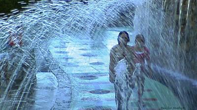 Walking Through The Fountains Art Print