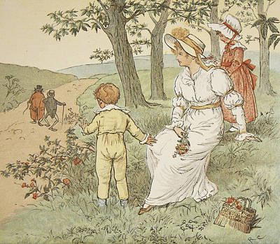 Nursery Rhyme Painting - Walking To Mouseys Hall by Randolph Caldecott