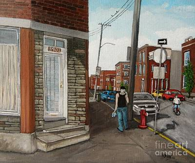 Montreal Art Verdun Street Scenes Painting - Walking Verdun In The Summer by Reb Frost