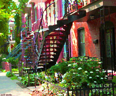 Quebec Streets Painting - Walking Verdun Spiral Staircases Graceful Circular Steps Montreal Colorful Scenes Carole Spandau  by Carole Spandau