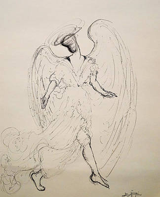 Drawing - Walking With An Angel by Giorgio Tuscani