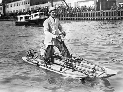 Water Walker Photograph - Walks Across San Francisco Bay by Underwood Archives